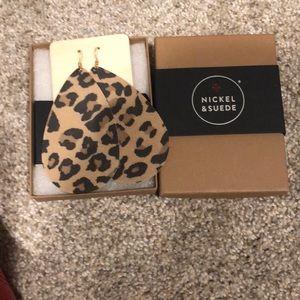 Nickel & Suede large leopard print earrings